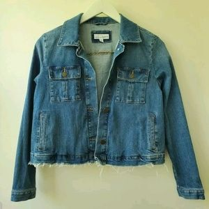 LOFT RAW EDGE CROPPED JEAN JACKET Size Small